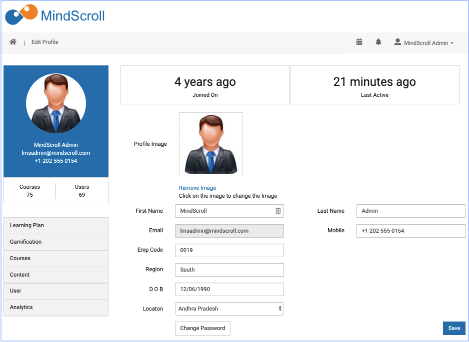 Profile view - MindScroll LMS