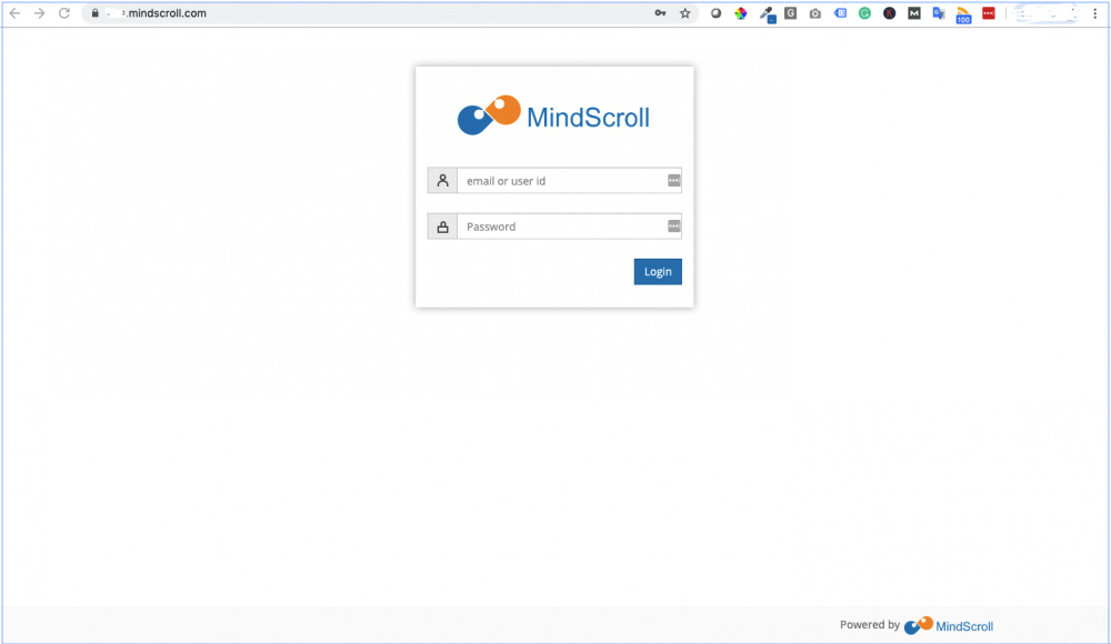 MindScroll LMS Login Screen