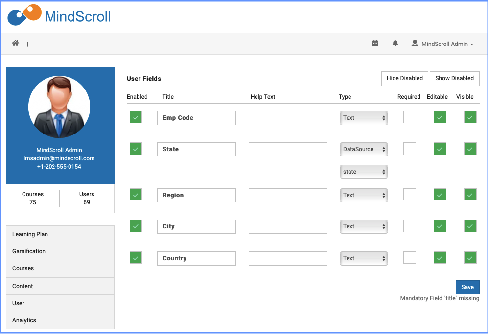 User Custom Fields - MindScroll LMS