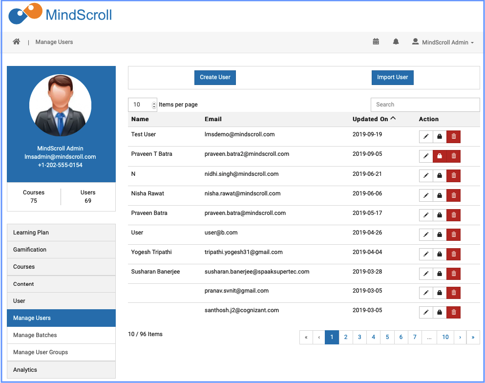 Manage Users - MindScroll LMS