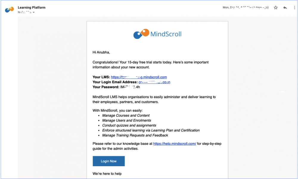 MindScroll LMS Account Creation mail